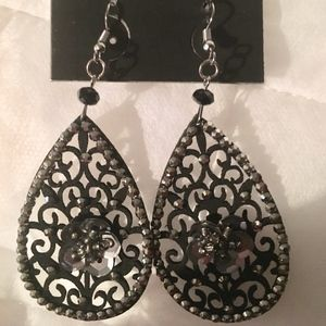 Romeo & Juliet Black Floral & Filigree Earrings